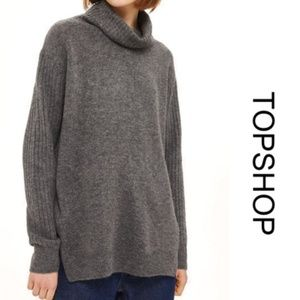 Topshop Gray Funnel Neck Oversize Sweater